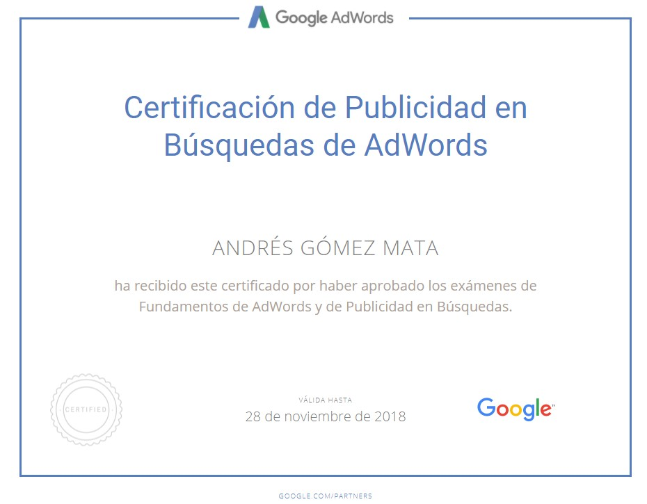 Ya disponemos del Certificado Oficial de Google Adwords